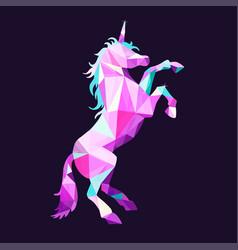 magic unicorn in low poly style geometric vector image
