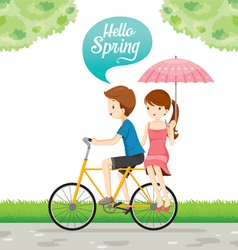 Man Riding Bicycle And Woman Sitting Behind vector image