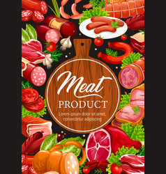 meat and sausages butcher delicatessen products vector image