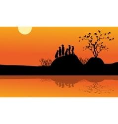 Meerkat in lake of silhouette vector