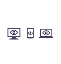 monitoring icons on white vector image