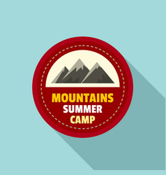 mountains summer camp logo flat style vector image