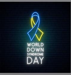 Neon blue and yellow awareness ribbon world down vector