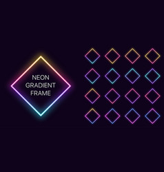 Neon gradient rhomb frame with copy space vector