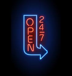 Neon sign open 24 7 light background vector