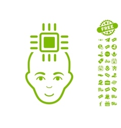 Neural Computer Interface Icon With Free Bonus vector