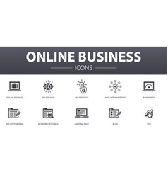 Online business simple concept icons set contains vector