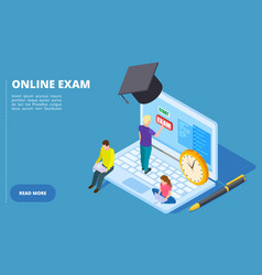 online exam isometric online education and vector image