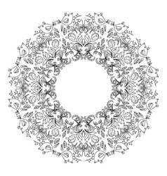Page of coloring book with round wreath vector image