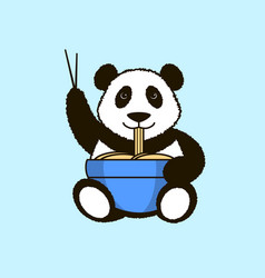 Panda is eating noodles vector