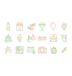 party celebration icons fun events birthday games vector image