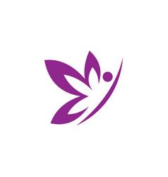 people shape butterfly beauty logo vector image