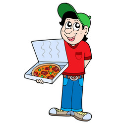 pizza delivery boy vector image