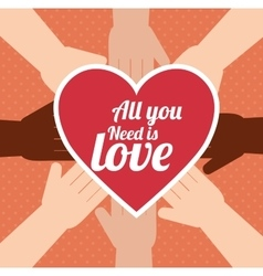 Postcard all you need is love hand unity design vector
