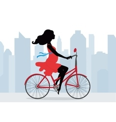 Pregnant woman rides a Bicycle on the background vector