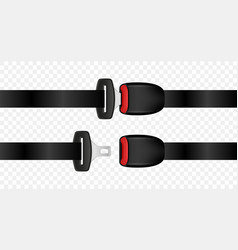realistic automobile open and closed seat belts vector image