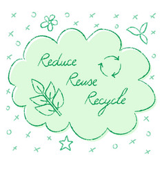 reduce reuse recycle lettering vector image