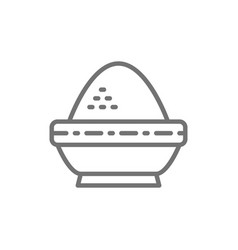 rice in bowl indian cuisine line icon vector image