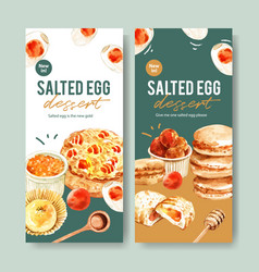 Salted egg flyer design with cupcake macarons vector