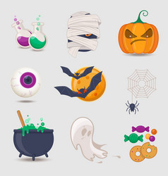 set halloween icons vector image