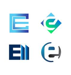set initial letter ce e ell symbol vector image