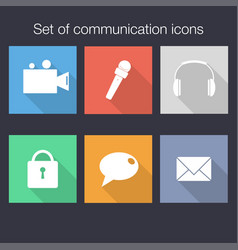 set of communication icons in flat style with vector image