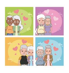 Set of cute grandparents couple vector