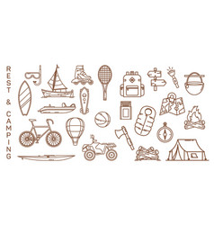 Set of isolated summer icons for recreation vector