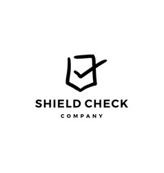 shield check logo doodle icon vector image