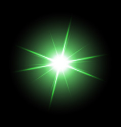shining star on black background green color vector image