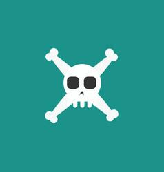 simple cartoon skull and crossbones icon vector image