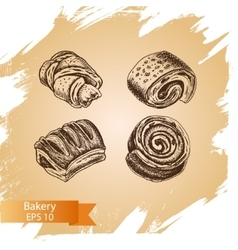 sketch - bakery buns puffs vector image