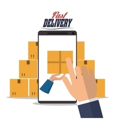 smartphone hand box package delivery icon vector image