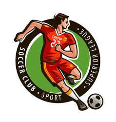 Soccer club logo or label sport concept mascot vector