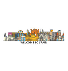 Spain outline skyline spanish flat thin line vector
