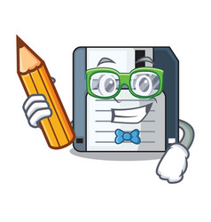 student floppy disk isolated with a mascot vector image