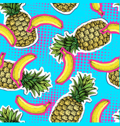 summer seamless bright pattern with pineapple and vector image