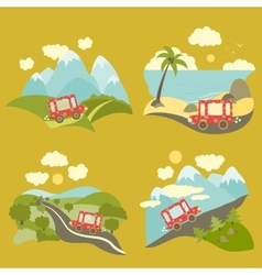 Summer vacation trip icons set vector image