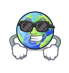 super cool earth above the sky the mascot vector image