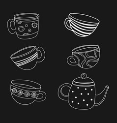 tea set a collection of stylized cups and vector image