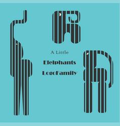 Three geometric cutted on stripes elephant logos vector