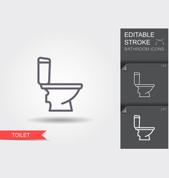 Toilet line icon with editable stroke with shadow vector