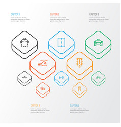 Transport outline icons set collection of taxi vector