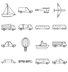 Transportation items icons set outline style vector