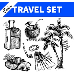 Travel and holiday set Hand drawn sketch vector image