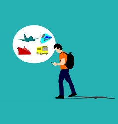 Travelers are using the phone for travel purposes vector