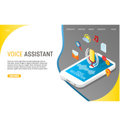 voice assistant landing page website vector image