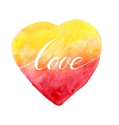 Watercolor heart for greeting card vector