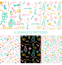 wedding trendy seamless patterns vector image