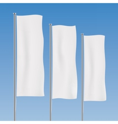 White vertical banner flags on a sky background vector